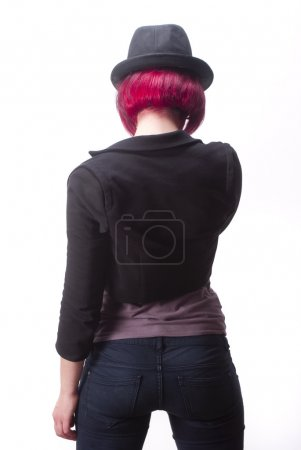 Black hat red hairs from back