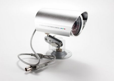 Silver isolated video surveillance camera