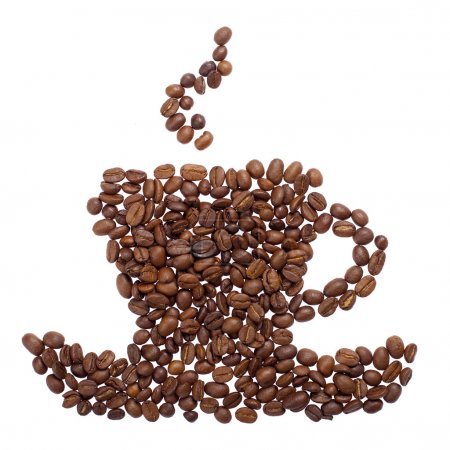 Photo for Coffee cup made of beans isolated on white background - Royalty Free Image