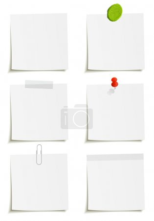 Illustration for Set of notes: clip, scotch tape, plasticine, sticker, pin attachment - Royalty Free Image