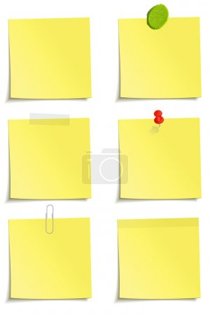 Photo for Different methods of attachment of the notes: clip, scotch tape, plasticine, sticker, pin - Royalty Free Image
