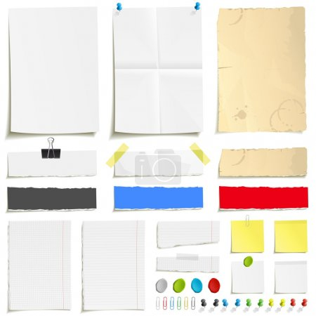 Illustration for White folded and grungy old paper, ragged sheets of paper, blank squared and lined notepad pages and pin, plasticine, scotch tape and paperclip set - Royalty Free Image