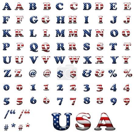 Photo pour Collection exclusive de lettres serties d'étoiles américaines et de rayures isolées sur fond blanc . - image libre de droit