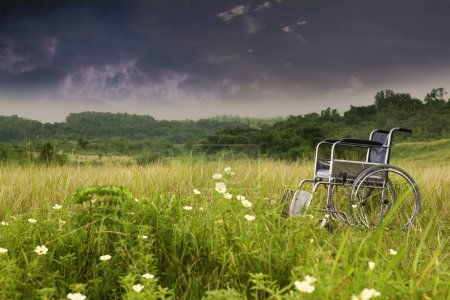Photo for Empty wheelchair in nature symbolizing sadness and loneliness - Royalty Free Image