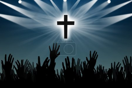 Photo for Silhouette of hands worshipping with a silhouette of cross - Royalty Free Image