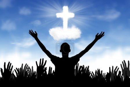 Photo pour Silhouette de l'adoration de Dieu - image libre de droit