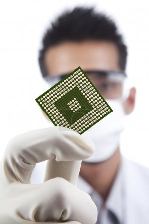 Photo for Scientist showing a microchip computer - Royalty Free Image