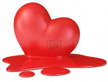 Photo for Red melting heart, 3d render - Royalty Free Image