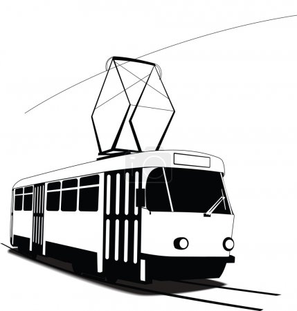 Illustration for Classic Czech tramway in vector. Black and white sketch - Royalty Free Image