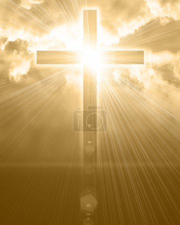 Photo for Glowing cross in sky - Royalty Free Image
