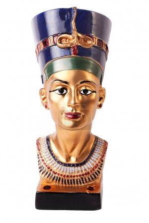 Famous buste from Nefertiti in Egypt on white back...