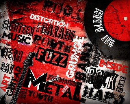 Photo pour Affiche Rock Music sur grunge - image libre de droit