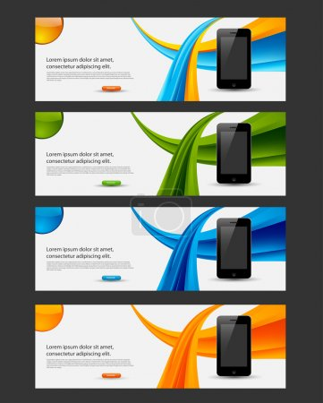 Website banner, flyer with smart phone