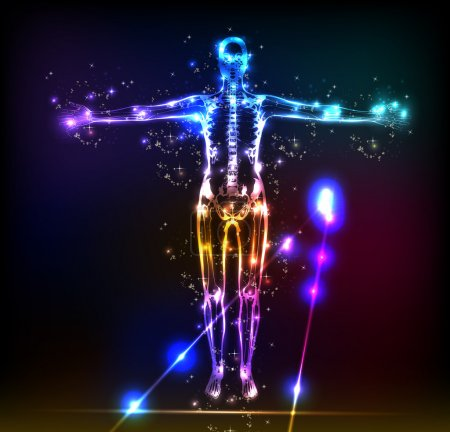 Illustration for Abstract human body background neon design - Royalty Free Image