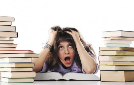 Stressed out girl with a big stack of books, similar pictures on