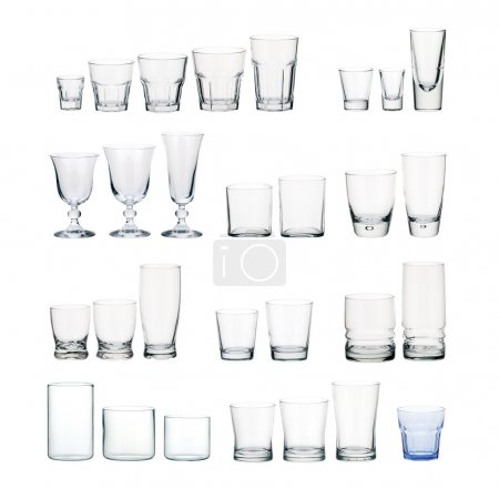 A set of glasses isolated on white background