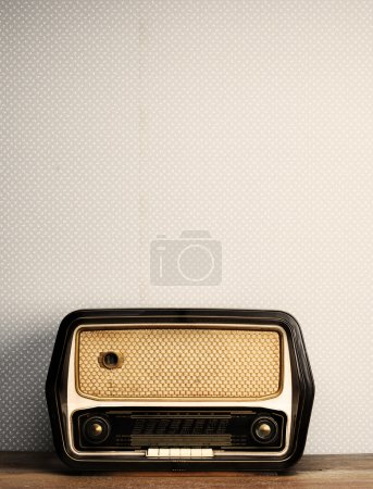 Antique radio on vintage background...