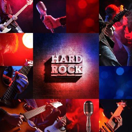 Photo pour Concert rock live collage, guitariste et bassiste - image libre de droit