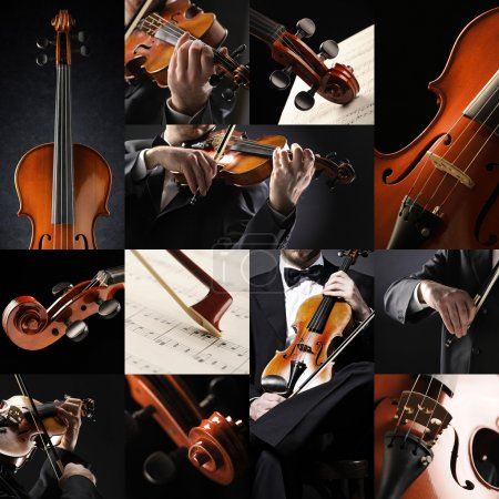 Photo for The violinist collage: Musician playing violin - Royalty Free Image
