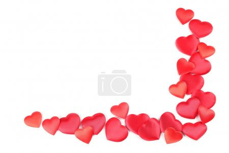 Photo for Frame made of heart shaped confetti on white background - Royalty Free Image