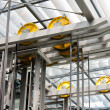Holding frame of an open steel lift shaft in a mod...
