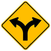 Illustration of Fork in the road symbol on yellow background