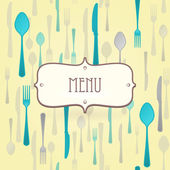Dining Card with knife fork and spoon as a vector pattern