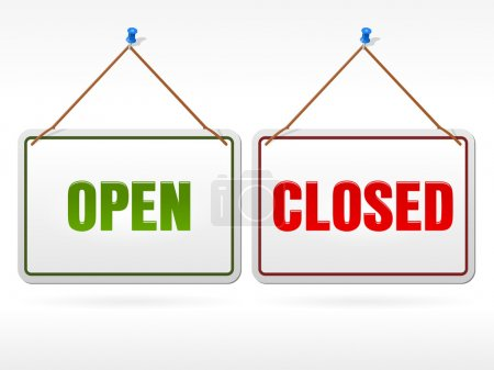 Illustration pour Panneaux suspendus blancs pour vitrine avec texte ouvert et fermé en vert et rouge - image libre de droit