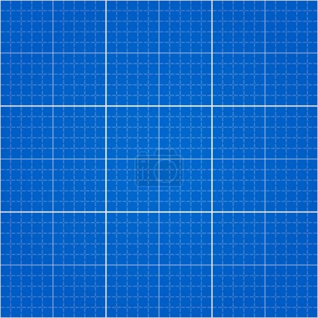 Illustration for Engineering drawing blue paper background with pattern swatch in EPS file - Royalty Free Image