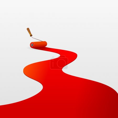 Red Paint and Roller