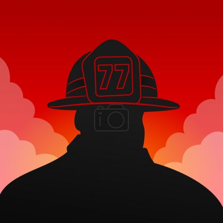 Black firefighter silhouette on red background wit...
