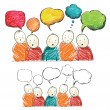 Hand draw figures with speech bubbles, vector...