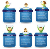 Blue web boxes with characters