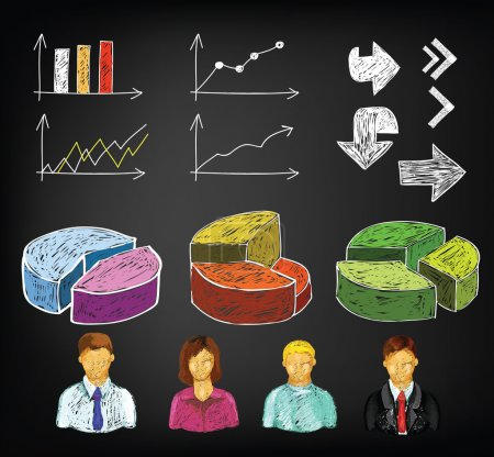Illustration for Hand draw business charts and avatars in vector - Royalty Free Image