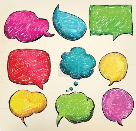 Illustration for Hand-drawn, colorful speech bubbles - Royalty Free Image