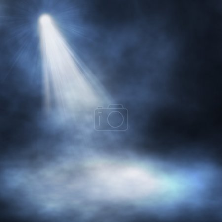 Spotlight single blue on smog background