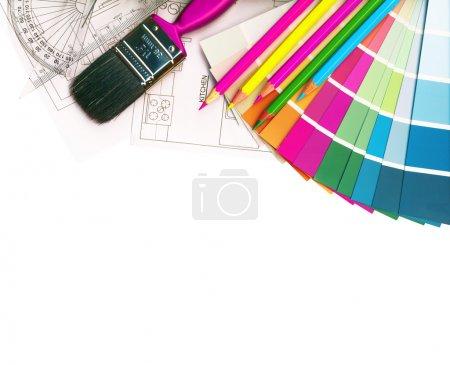 Photo pour Nuanciers et plans isolés sur blanc, avec un tracé de détourage - image libre de droit