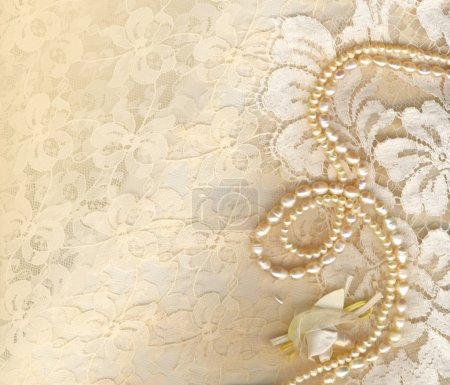 Photo for Wedding background with cream silky decoration accessories, lace and pearls - Royalty Free Image