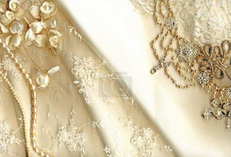 Photo pour Dentelle robe de mariée Vintage - image libre de droit