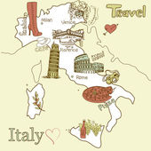 Creative map of Italy Sightseeing in Italy