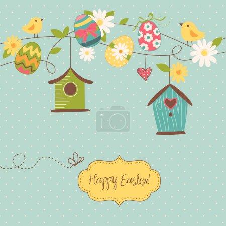 Beautiful Spring backgroun with bird houses, birds...