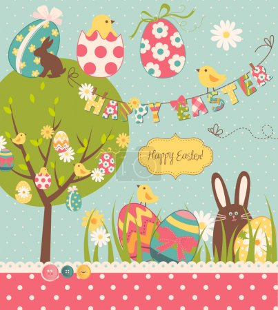 Illustration for Easter Extravaganza. Big Easter set with cute chocolate rabbit, colourful eggs, chicks, Easter tree and a Clothesline with letters on it. Ideal for scrapbooking - Royalty Free Image