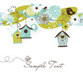 Beautiful Spring background with bird houses birds and flowers