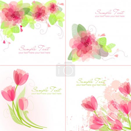 Photo for Set of 4 Romantic Flower Backgrounds in pink and white colours. Ideal for Wedding invitation, birthday card or mother's day card - Royalty Free Image