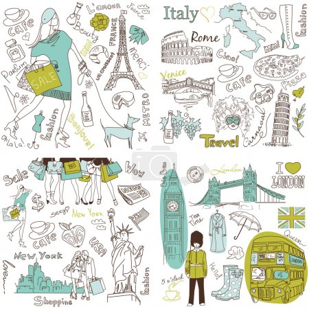 Illustration for Italy, England, France, USA - four wonderful collections of hand drawn doodles - Royalty Free Image