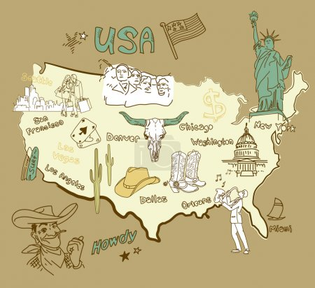 Illustration for Stylized map of America. Things that different Regions in USA are famous for. - Royalty Free Image