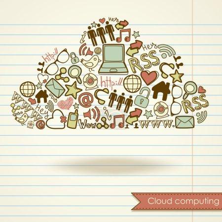 Illustration pour Concept de cloud computing et médias sociaux - image libre de droit