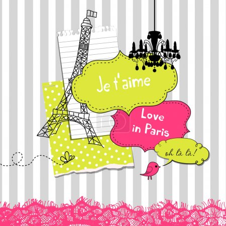 Cute scrapbook elements in French style