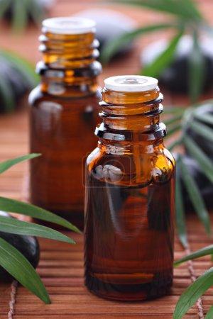 Photo pour Aromathérapie, huile essentielle bouteilles bambou mat avec des pierres de basalte et de feuilles vertes en arrière-plan - image libre de droit