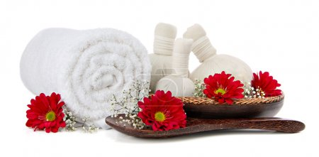 Spa setting with thai herbal compress massage balls